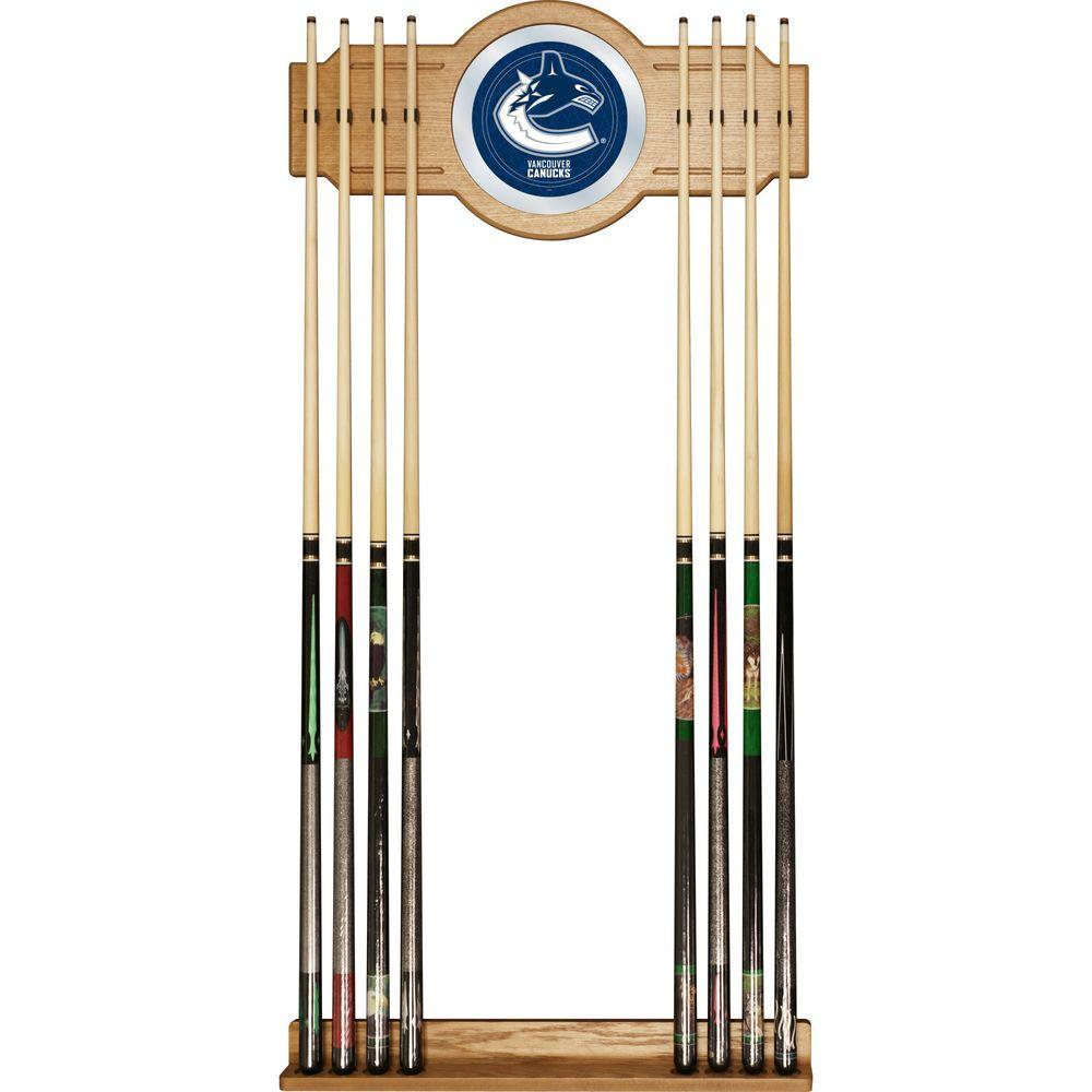 Trademark NHL Vancouver Canucks 30 in. Wooden Billiard Cue Rack with Mirror
