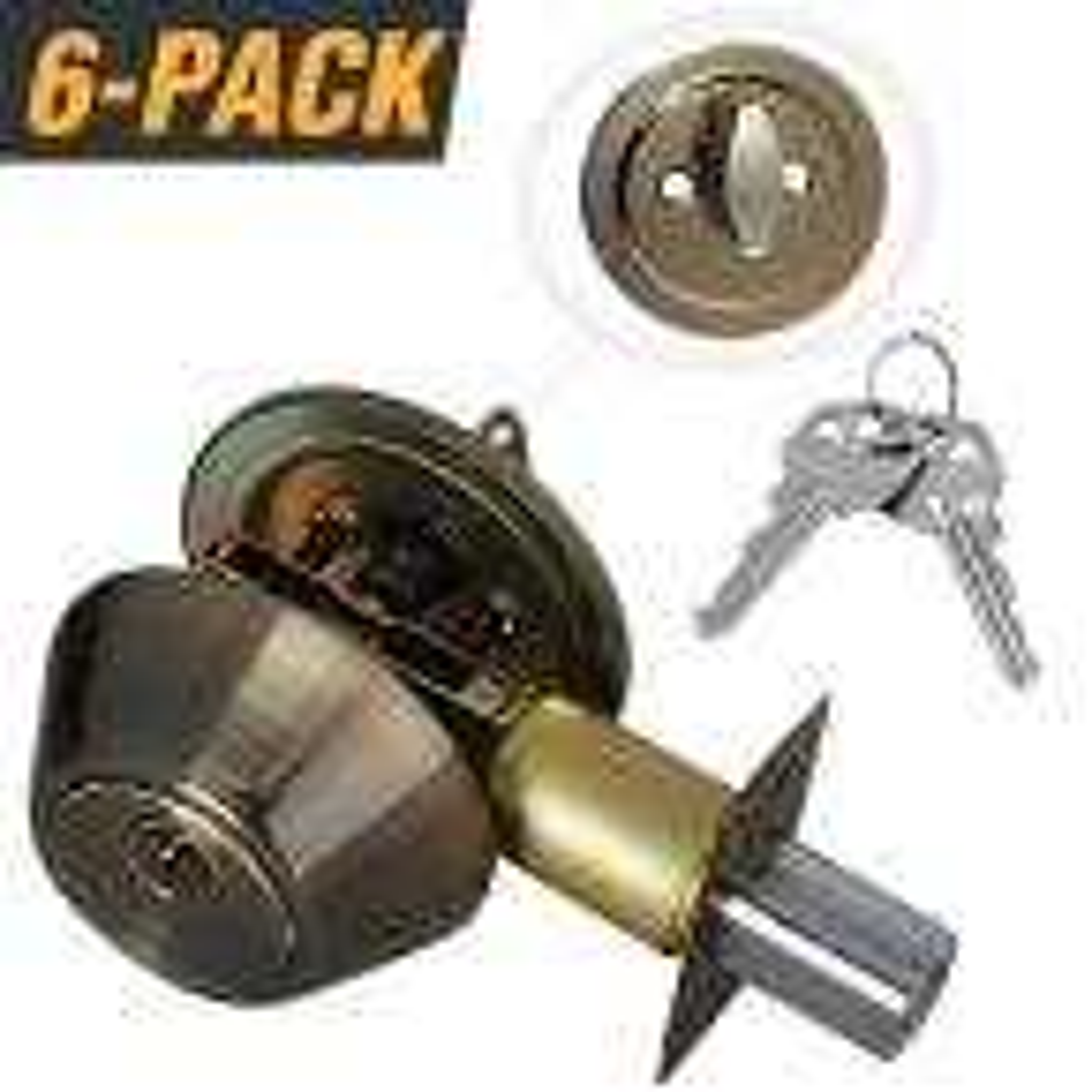 Antique Brass Entry Door Lock Single Cylinder Deadbolt with 12 KW1 Keys (6-Pack, Keyed Alike)