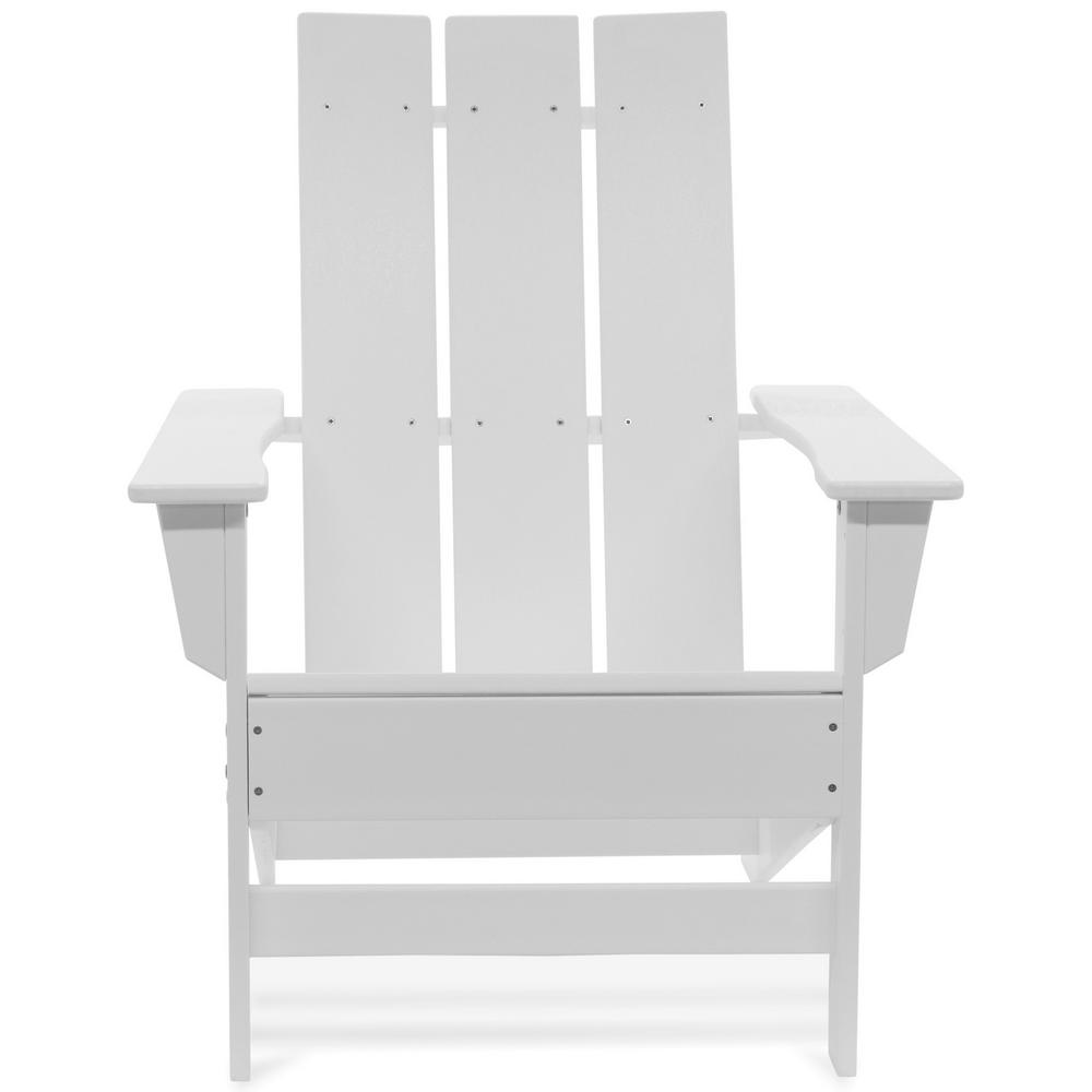 Durogreen Aria White Recycled Plastic Modern Adirondack Chair Aac3529wh The Home Depot