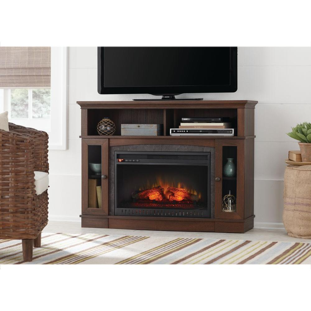 home decorators collection grafton 46 in tv stand infrared electric rh homedepot com Electric Fireplace Burnished Walnut 279 walnut electric fireplaces