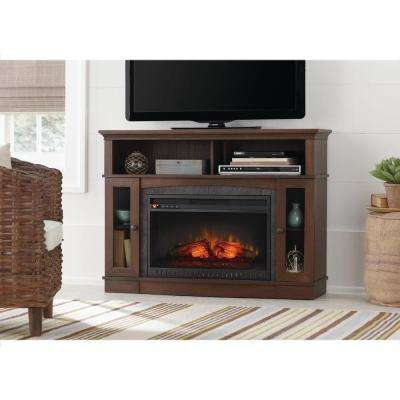 Grafton 46 in. TV Stand Infrared Electric Fireplace in Medium Brown Walnut