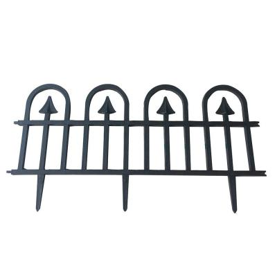 Abba Patio 24.4 in. x 12.5 in. Black Recycled Plastic Garden Fence