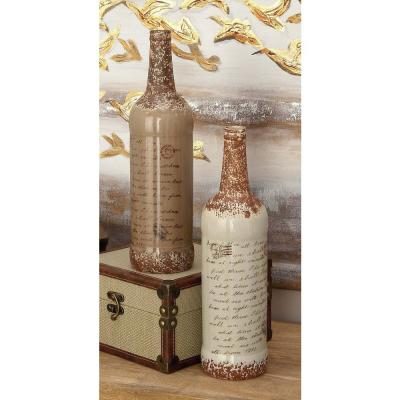 15 in. Whimsical Inscription Distressed Taupe and White Ceramic Decorative Vases (Set of 2)