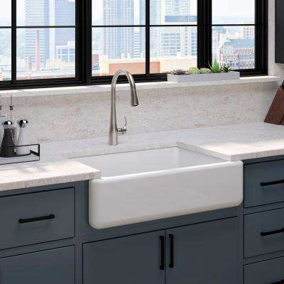 White Haven Undermount Cast Iron 32.6875 in. Single Bowl Kitchen Sink in White with Simplice Faucet