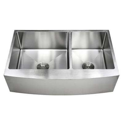 36 in. x 21 in. x 10 in. 16-Gauge Stainless Steel Farmhouse Apron 60/40 Offset Curve Front Double Bowl Kitchen Sink