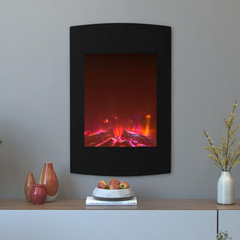 Black wall mounted electric fireplace - Curved Wall Mounted Electric Fireplace In Multi Color In