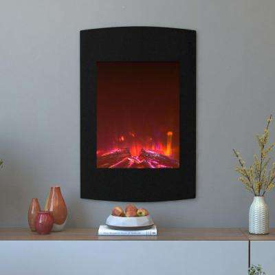 Scoria 23 in. Curved Wall Mounted Electric Fireplace in Multi-Color in Black