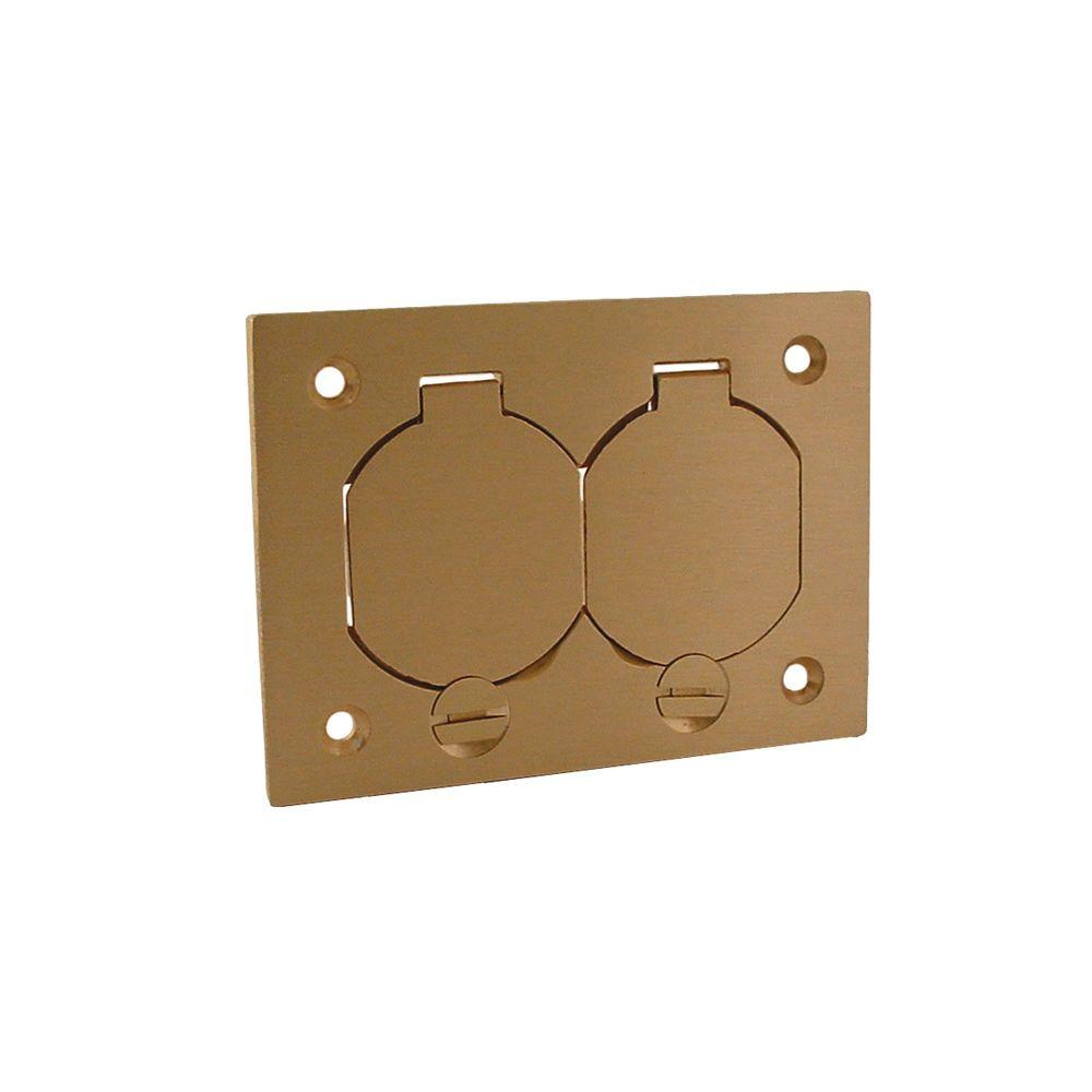 Raco 1 Gang Rectangular Floor Box Duplex Brass Cover With