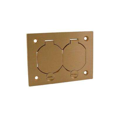 1-Gang Rectangular Floor Box Duplex Brass Cover with Lift Lids