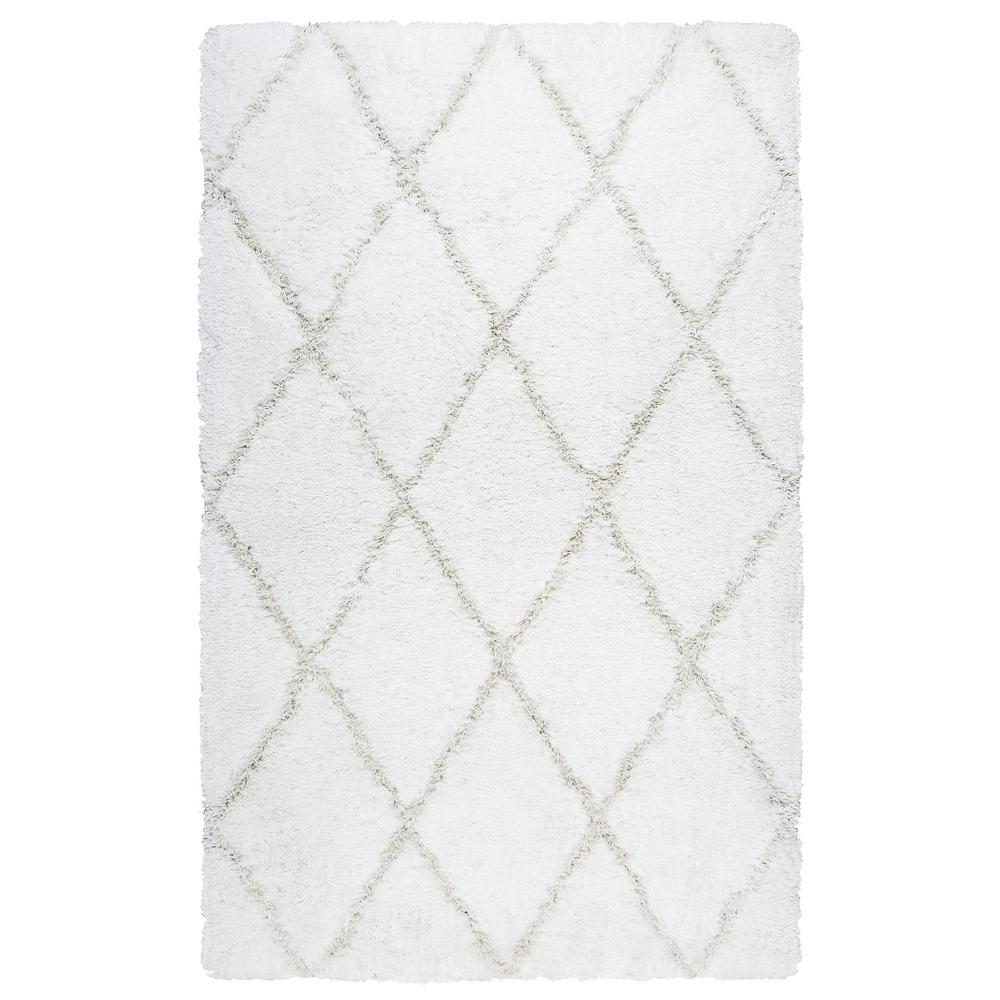 Connex Ivory Polyester Shag 9 ft. x 12 ft. Area Rug