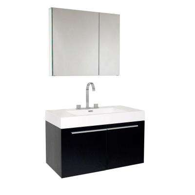 Vista 36 in. Vanity in Black with Acrylic Vanity Top in White with White Basin and Mirrored Medicine Cabinet