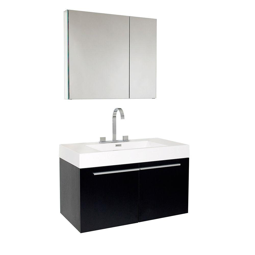 Fresca Vanity Black Acrylic Vanity Top White Basin Mirrored Product Photo