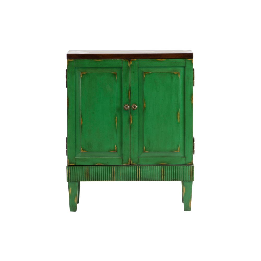 Exceptionnel Hand Painted Distressed Green Accent Chest