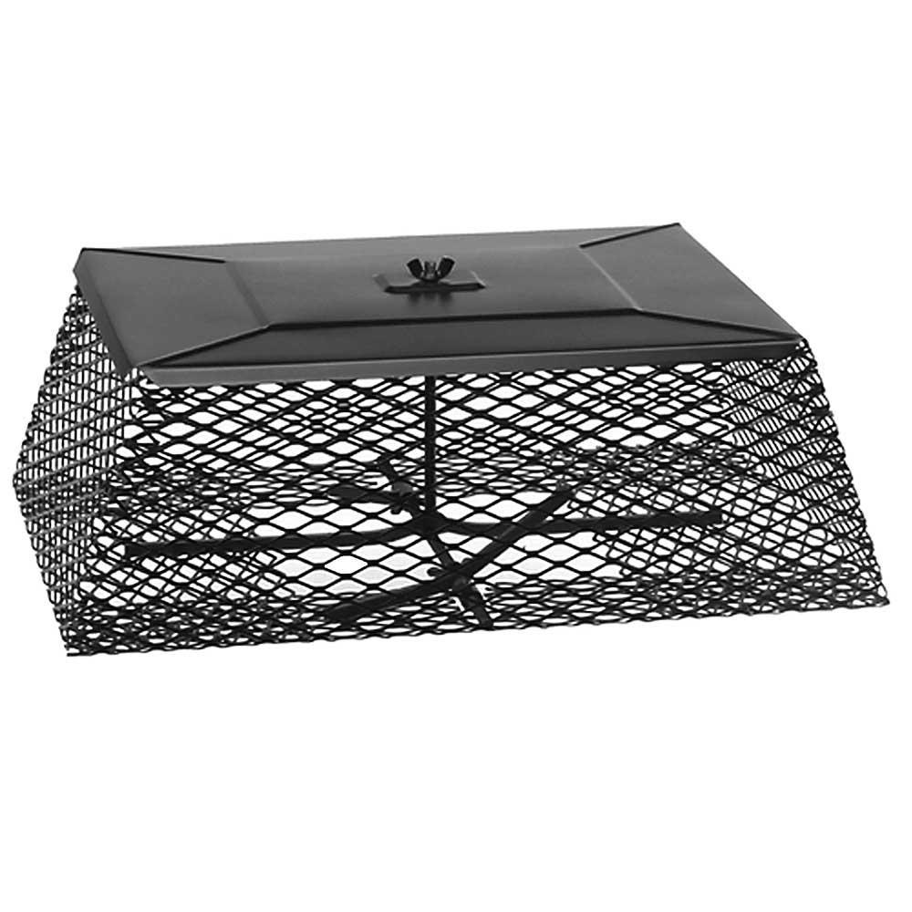 15 in. x 24 in. Adjustable Flue Guard Chimney Cap Spark Arrestor in Black