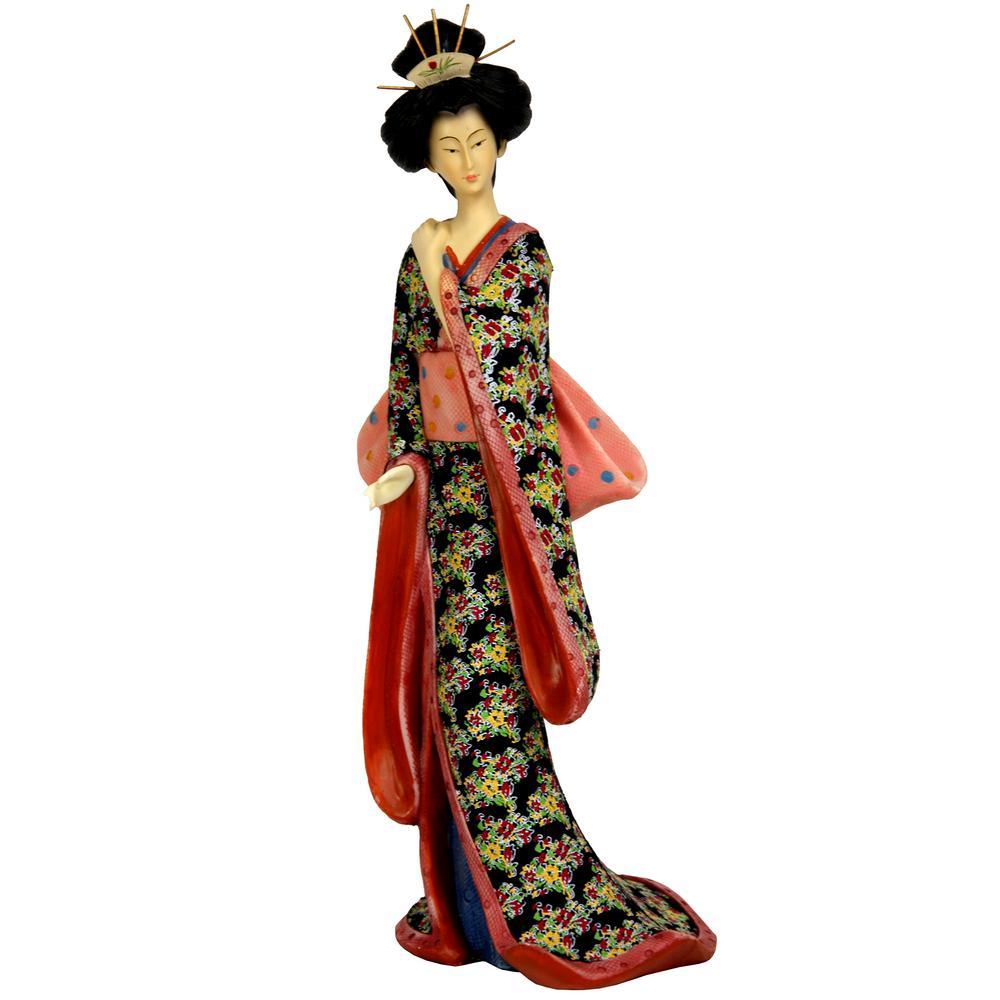 Oriental Furniture 14 in. Geisha with Pastel Sash Decorative Statue