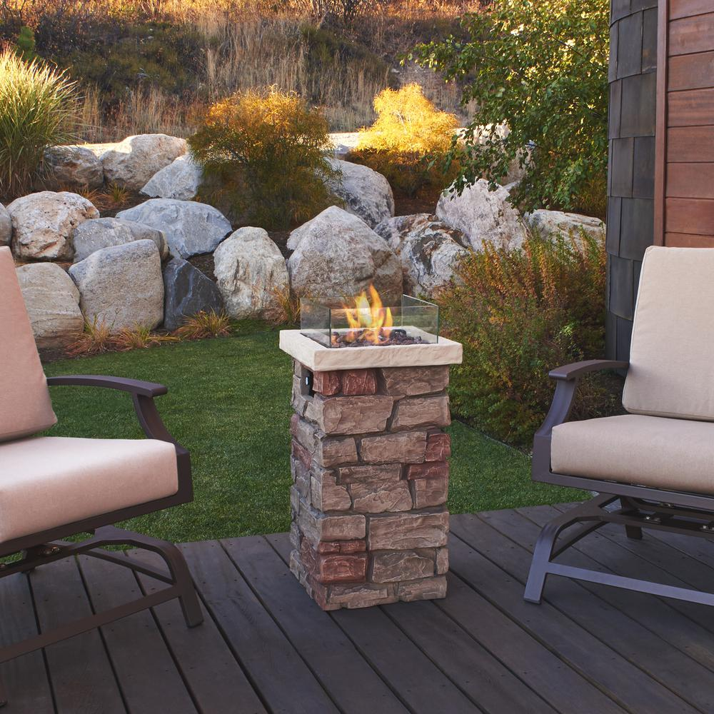 Real Flame Sedona 16 in x 32 in. Rectangular Fiber-Concrete Propane Fire Column in Buff with Electronic Ignition