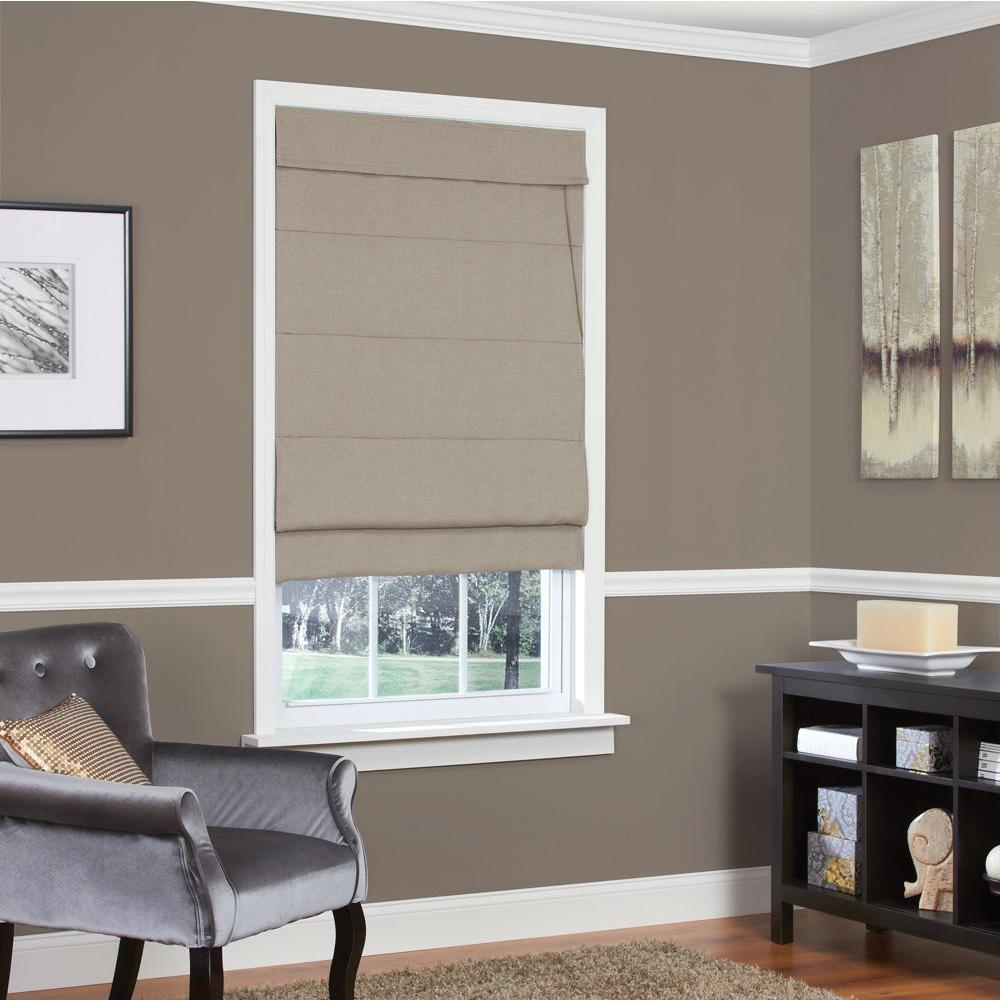 Cocoa Textured Fabric Inaccessible Cord Roman Shade - 23 in. W