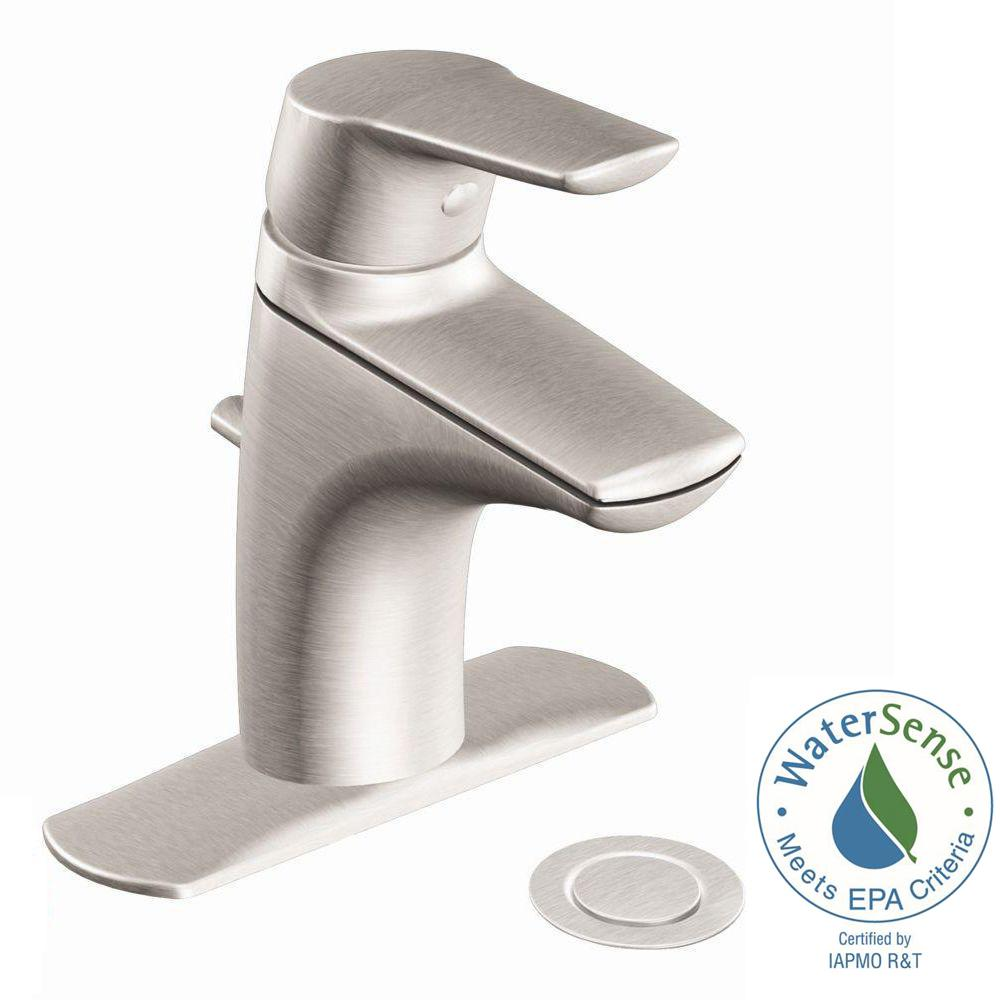 MOEN Method Single Hole Single Handle Bathroom Faucet in Brushed ...