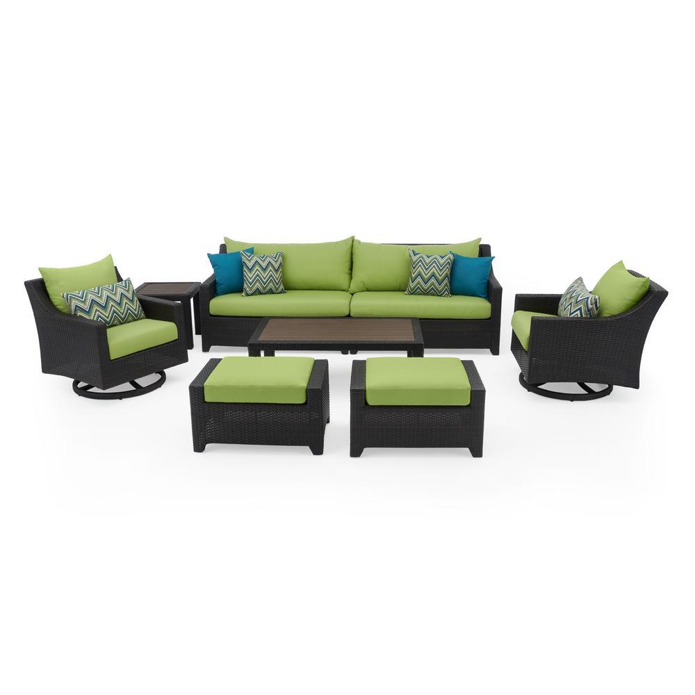 Deco 8-Piece Motion Wicker Patio Deep Seating Conversation Set with Sunbrella Ginkgo Green Cushions