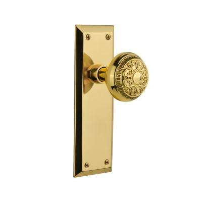 New York Plate 2-3/4 in. Backset Unlacquered Brass Passage Hall/Closet Egg & Dart Door Knob