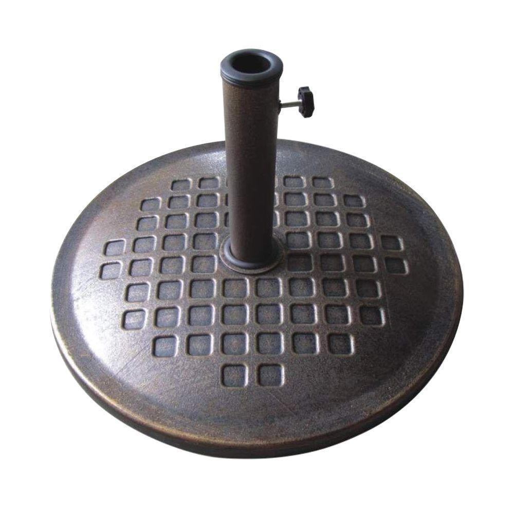 24 in. Round Cast Stone Umbrella Base in Bronze