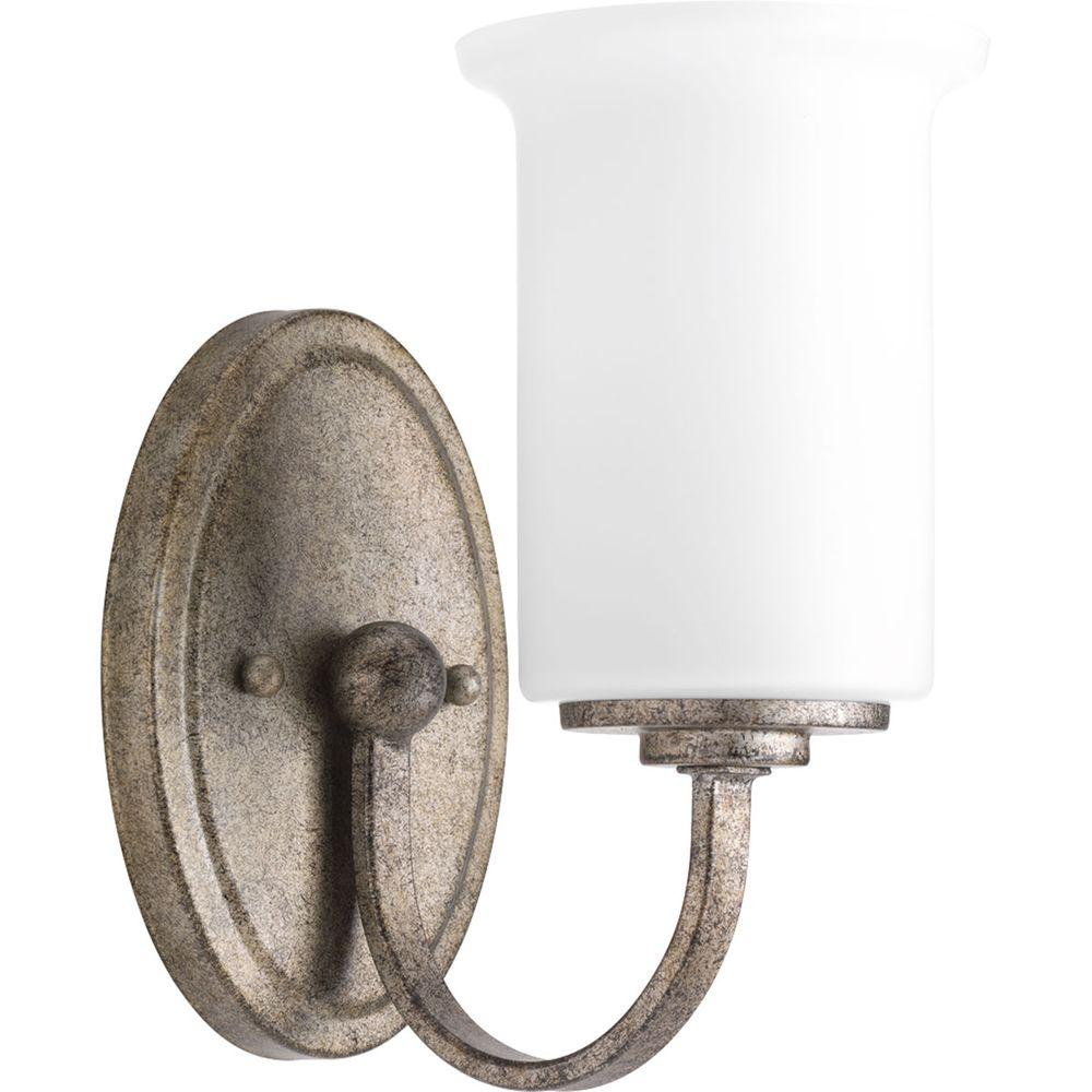 Progress Lighting Stroll Collection 1 Light Pebbles Bath Sconce With Opal Glass Shade