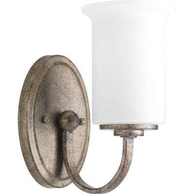 Stroll Collection 1-Light Pebbles Bath Sconce with Opal Glass Shade