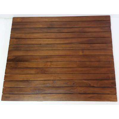 Natural Teak Floor Mat 1.5 in. Thick x 20 in. W x 20 in. L Solid Teakwood Flooring (2.78 sq. ft./Piece)