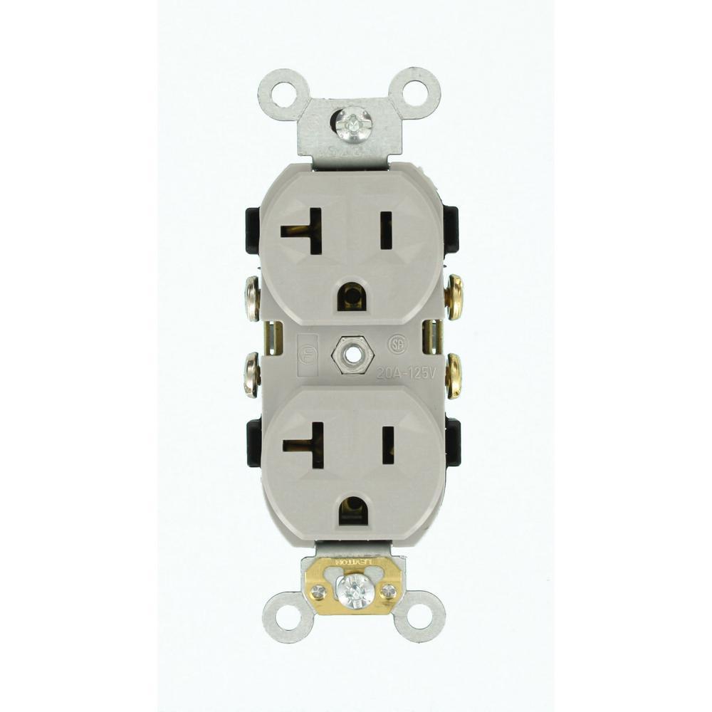 20 Amp 125-Volt Narrow Body Duplex Outlet Straight Blade Commercial Grade Self Grounding, Gray