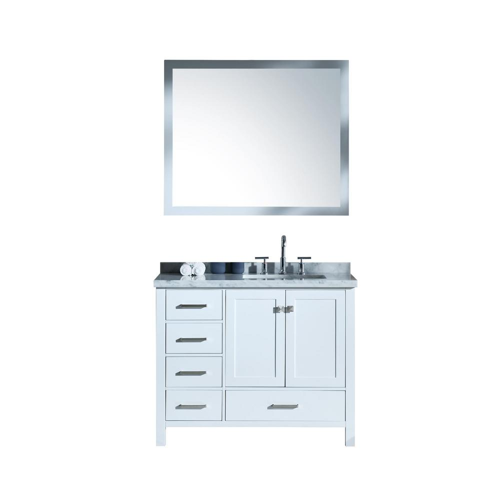 Ariel Cambridge 43 in. Bath Vanity in White with Marble Vanity Top in Carrara White with White Basins and Mirror