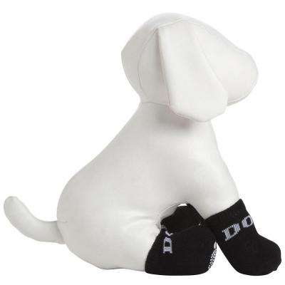 Small Black and White Dog Socks with Rubberized Soles (Set of 4)