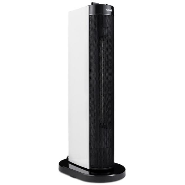 Portable Electric Ceramic Tower Heater, Quiet and Compact with Wide Angel Oscillation for 110 sq. ft. - White/Black