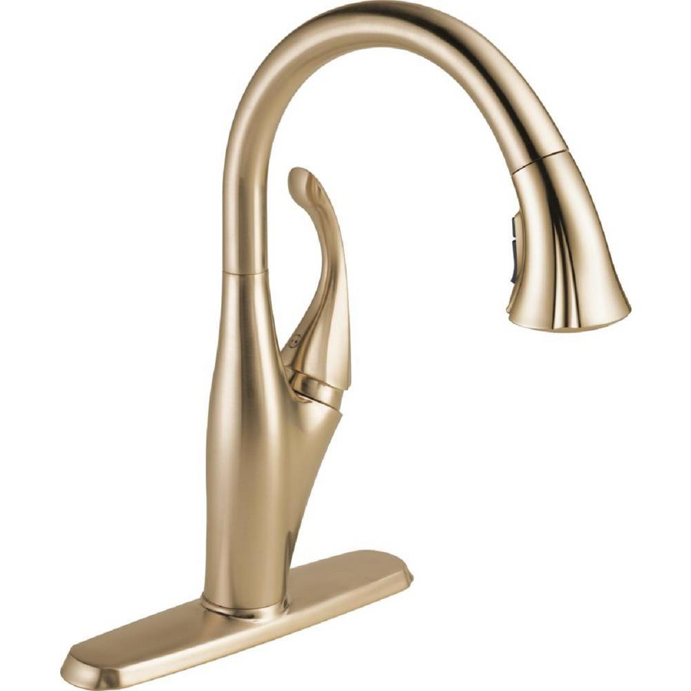 Cool Delta Addison Single Handle Pull Down Sprayer Kitchen Faucet With Magnatite Docking In Champagne Bronze Download Free Architecture Designs Embacsunscenecom