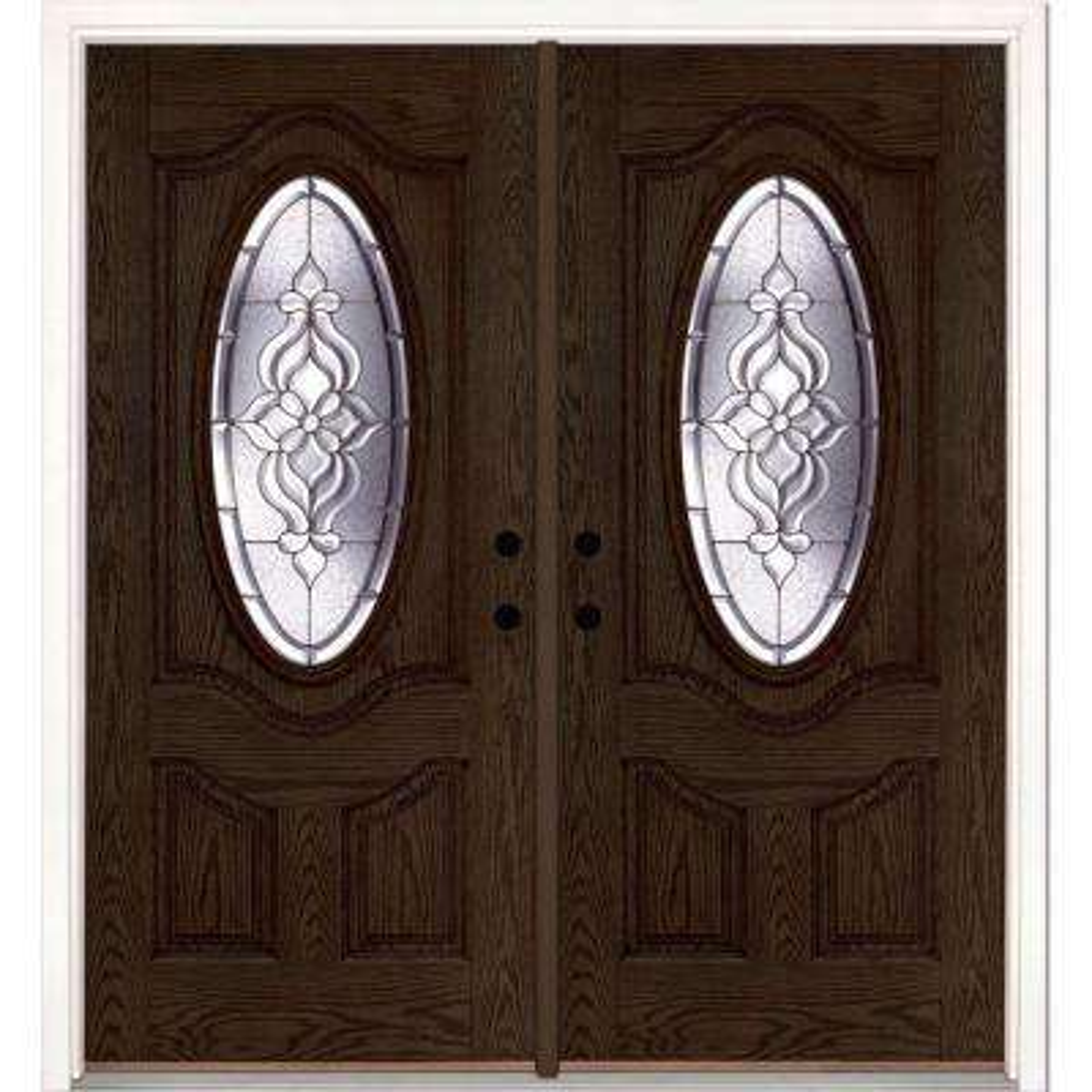 74 in. x 81.625 in. Lakewood Zinc 3/4 Oval Lite Stained Walnut Oak Left-Hand Fiberglass Double Prehung Front Door