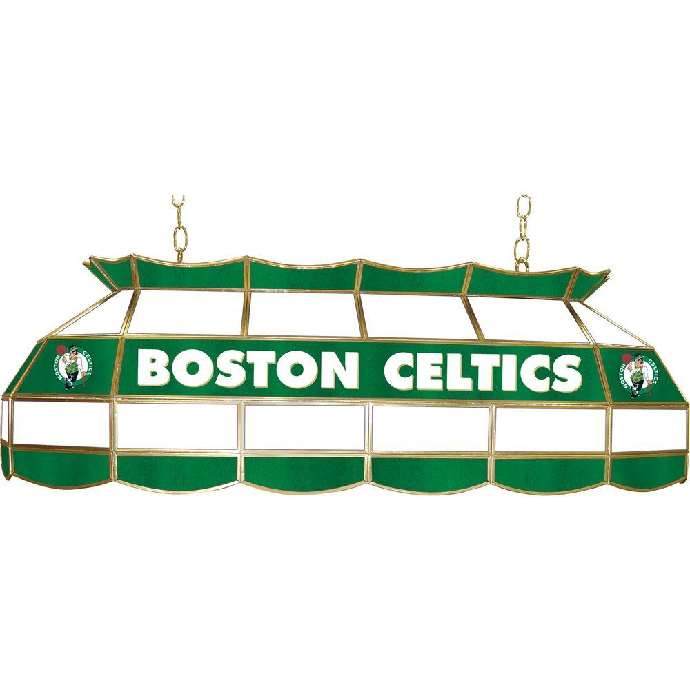 null NBA Boston Celtics NBA 3-Light Stained Glass Hanging Tiffany Lamp