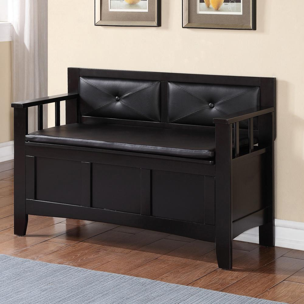 Linon home decor carlton black bench 84021blk 01 kd u for Home decorators bench