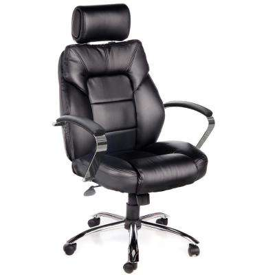 Commodore II Black Oversize Leather Chair with Adjustable Headrest