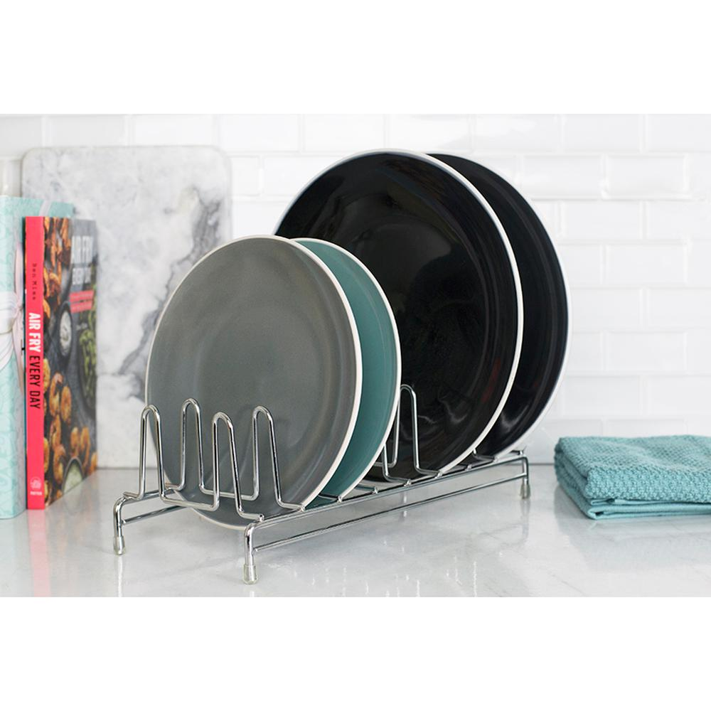 8 Slot Chrome Plated Steel Free-Standing Plate Rack with Non-Skid Feet