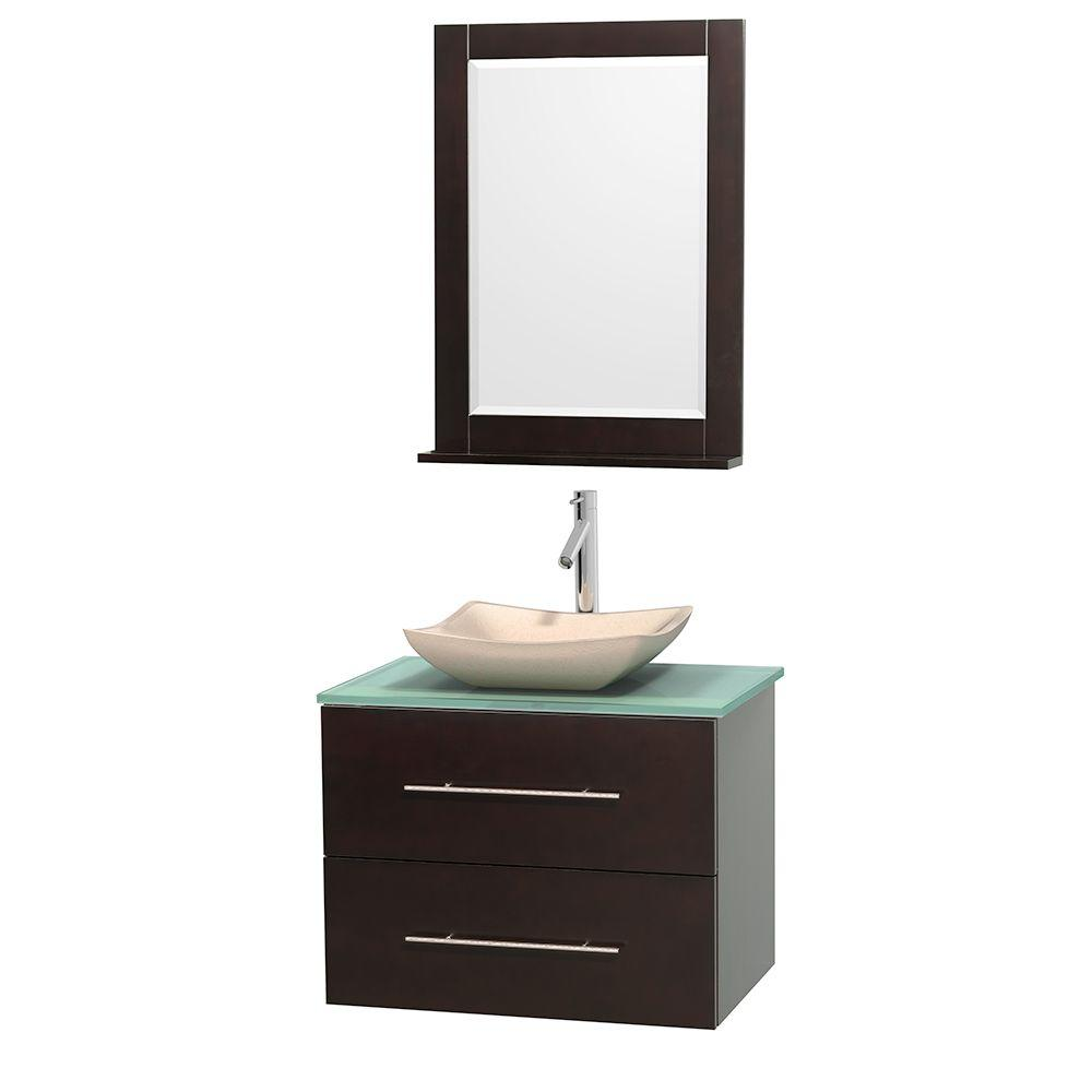 Wyndham Collection Centra 30 in. Vanity in Espresso with Glass Vanity Top in Green, Ivory Marble Sink and 24 in. Mirror