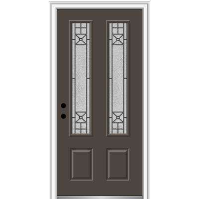 36 in. x 80 in. Courtyard Right-Hand 2 Lite Decorative Painted Fiberglass Smooth Prehung Front Door, 4-9/16 in. Frame