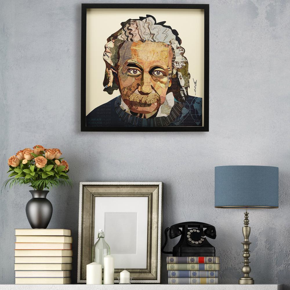 """25 in. x 25 in. """"Einstein"""" Dimensional Collage Framed Graphic Art Under Glass Wall Art"""