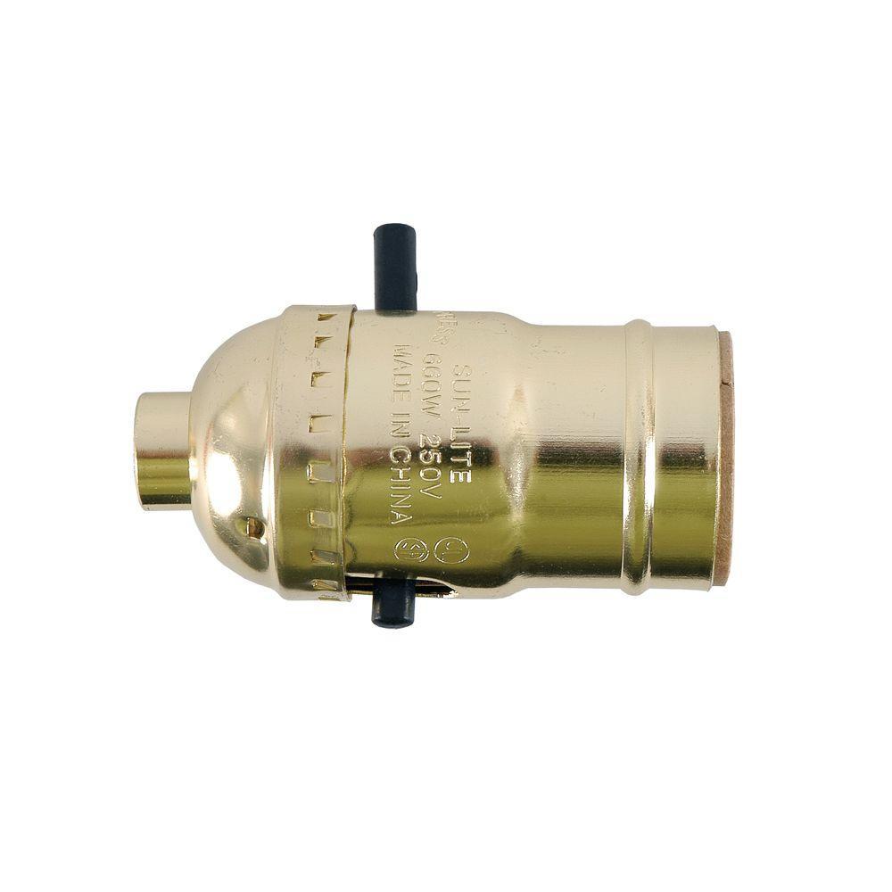 GE Push On/Off Brass Lamp Socket Housing - Aluminum