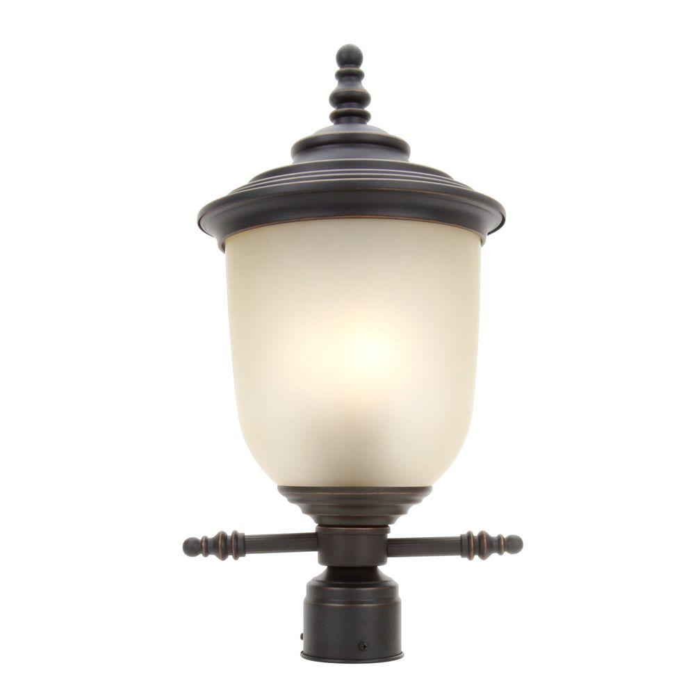 Hampton Bay Chelsea 3-Light Mediterranean Bronze Outdoor Post Lantern
