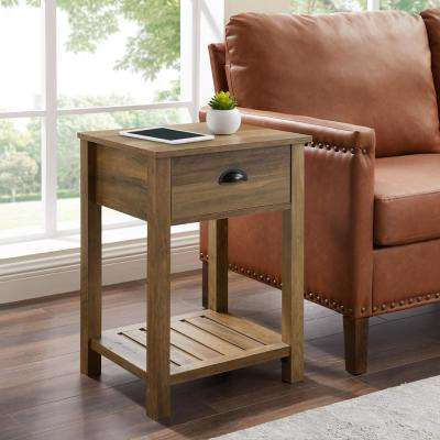 Reclaimed Barnwood Country One-Drawer Side Table