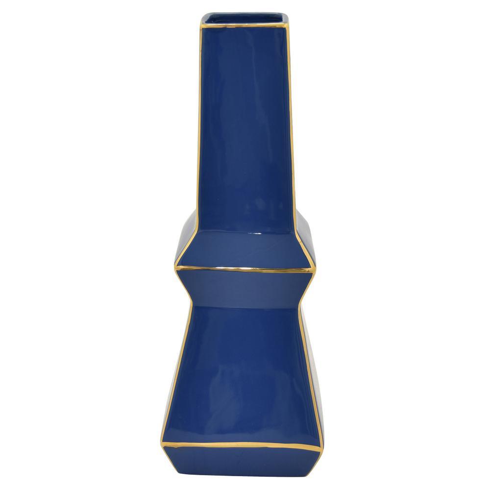 14.75 in. Blue and Gold - Blue Porcelain Vase