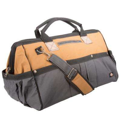 20 in. Soft Sided Construction Work Tool Bag, Grey/Tan
