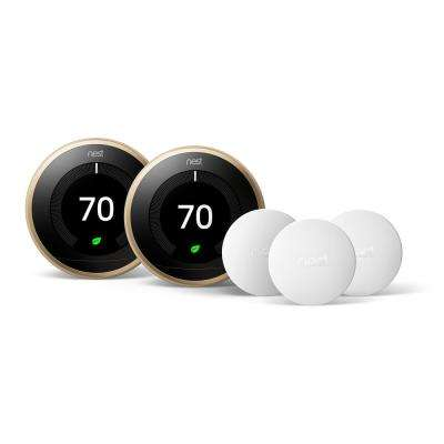 Smart Learning Wi-Fi 24-Day Programmable Thermostat, 3rd Gen, Brass (2-Pack) with Temperature Sensor (3-Pack)