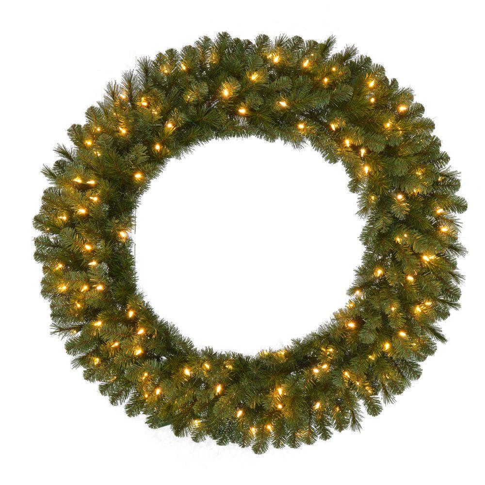 48 in. Pre-Lit LED Wesley Pine Artificial Christmas Wreath x 366 ...