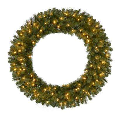 48 in. Pre-Lit LED Wesley Pine Artificial Christmas Wreath x 366 Tips with 120 Plug-In Indoor/Outdoor Warm White Lights