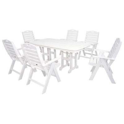 Yacht Club Classic White 7-Piece High Back Plastic Outdoor Patio Dining Set